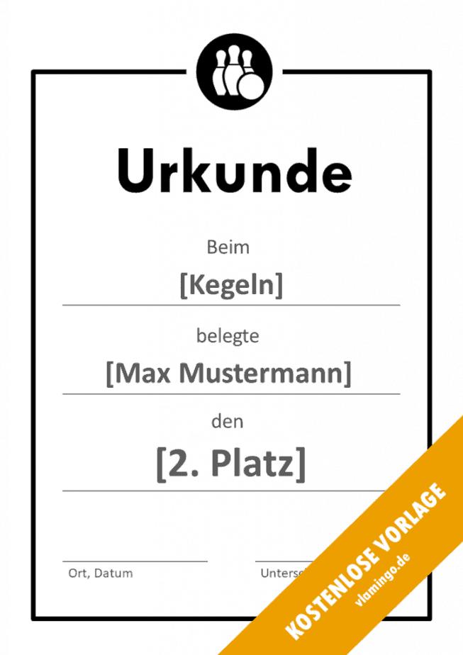Kegeln - Urkunde - Vorlage - Rahmen 2