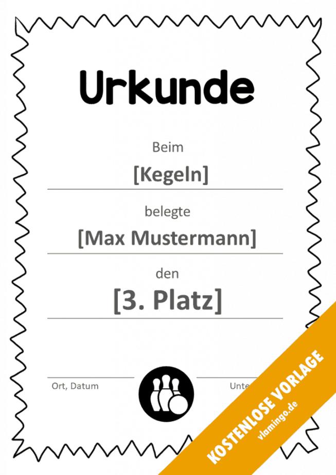 Kegeln - Urkunde - Vorlage - Rahmen 3