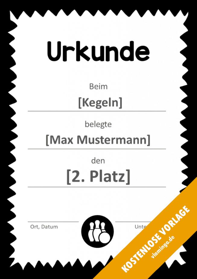 Kegeln - Urkunde - Vorlage - Rahmen 4