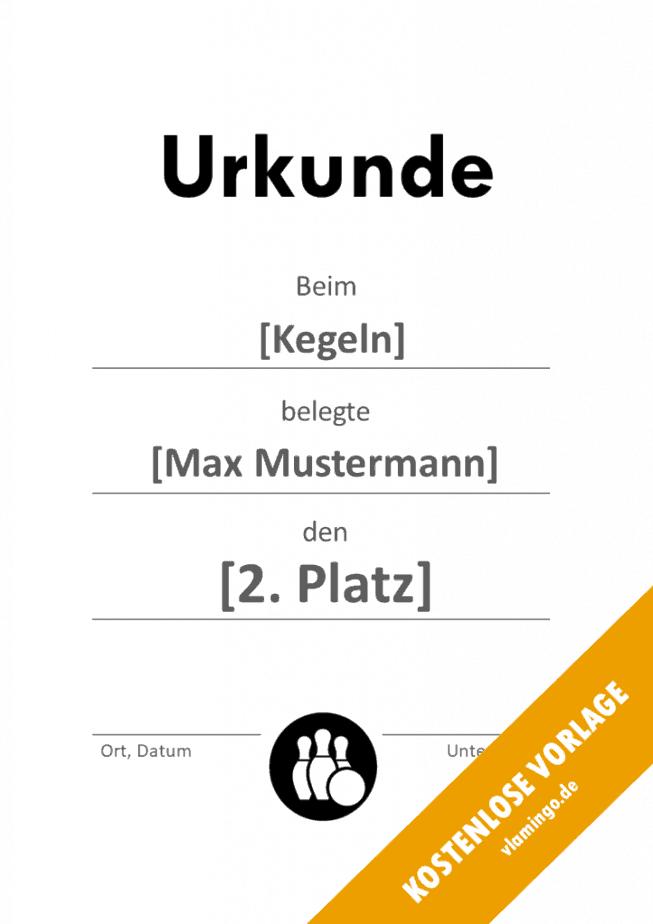 Kegeln - Urkunde - Vorlage