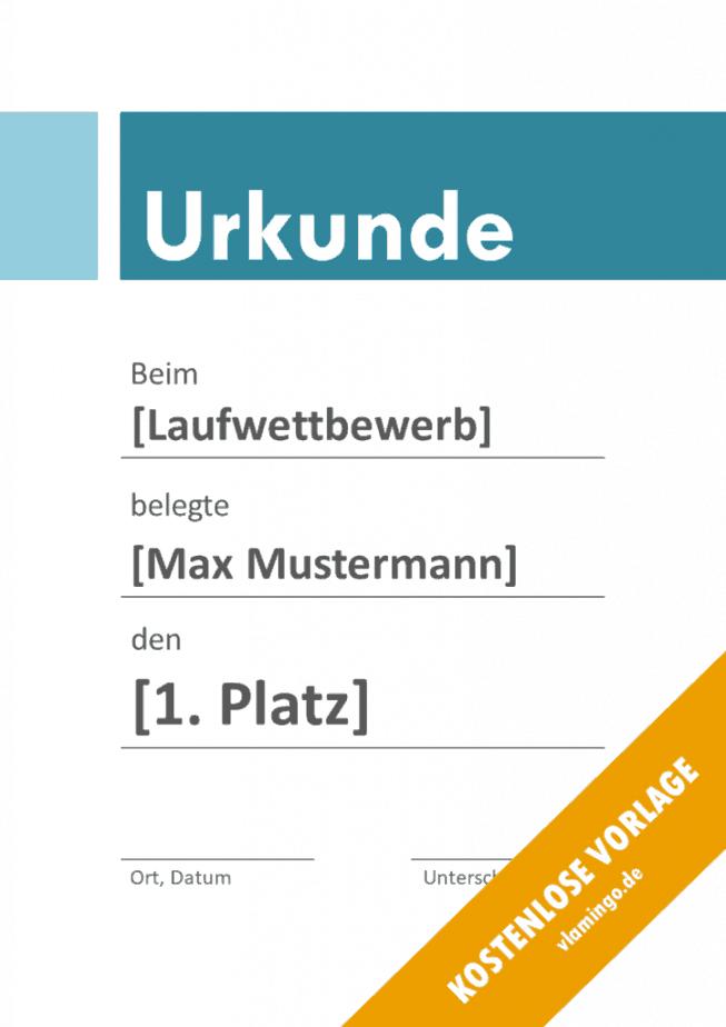 Kilometerlauf - Urkunde - Vorlage - Banner 3