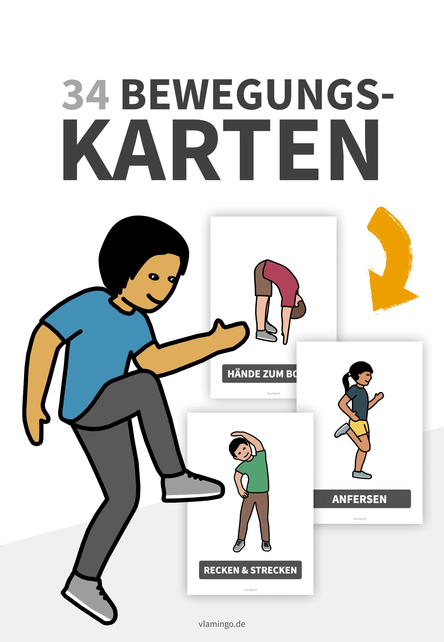 34 Bewegungskarten (Kinder) für Pausen, den Unterricht & Zuhause