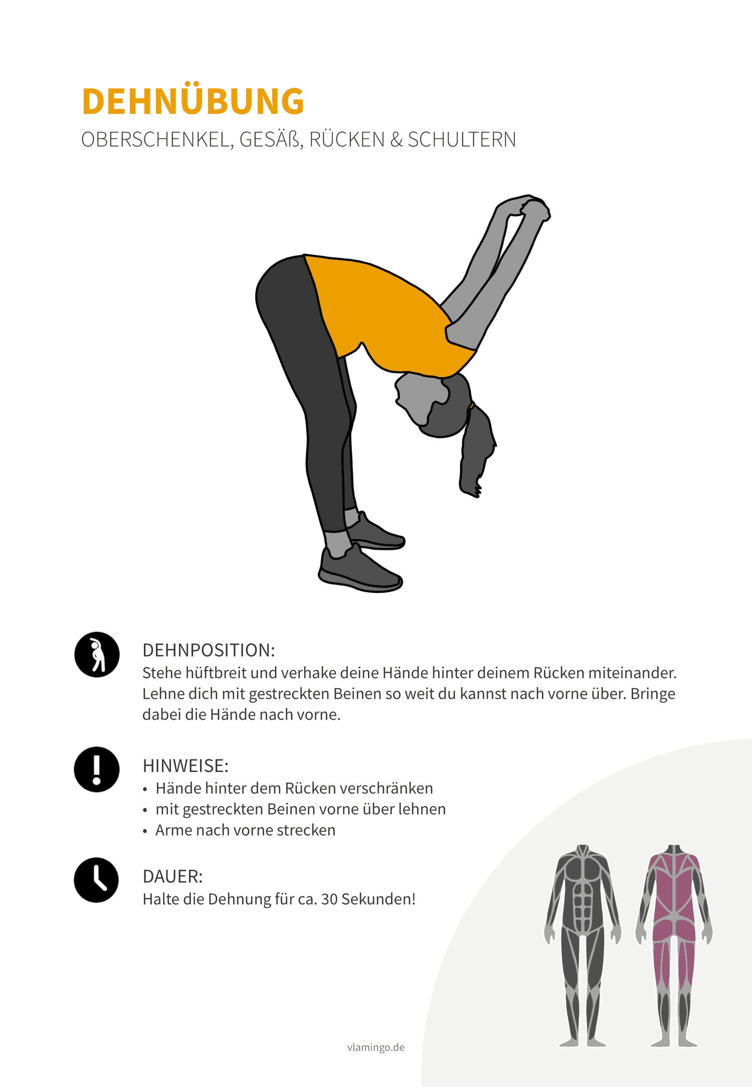 Dehnübung 025 - Oberschenkel, Gesäß, Rücken & Schultern