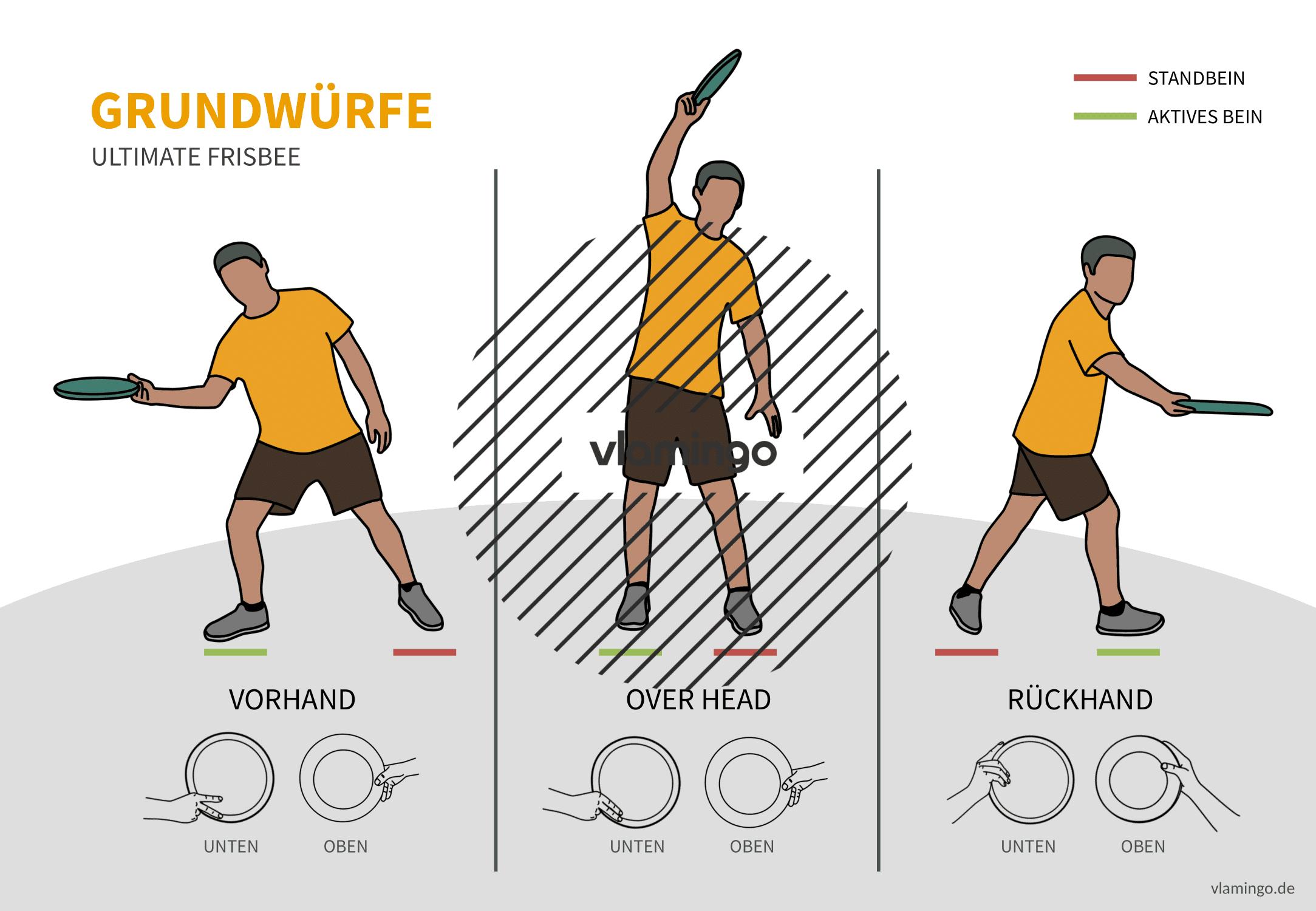 Frisbee - Technikkarten (Bewegungsabläufe) - 3 Grundwürfe