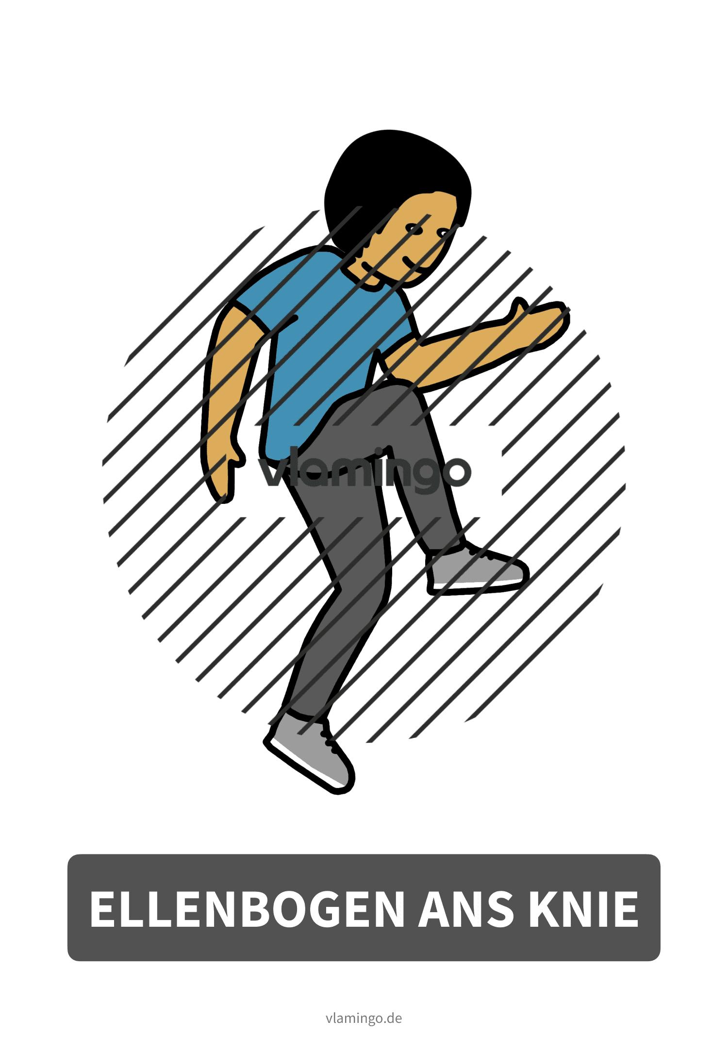 Bewegungskarte - Ellenbogen ans Knie