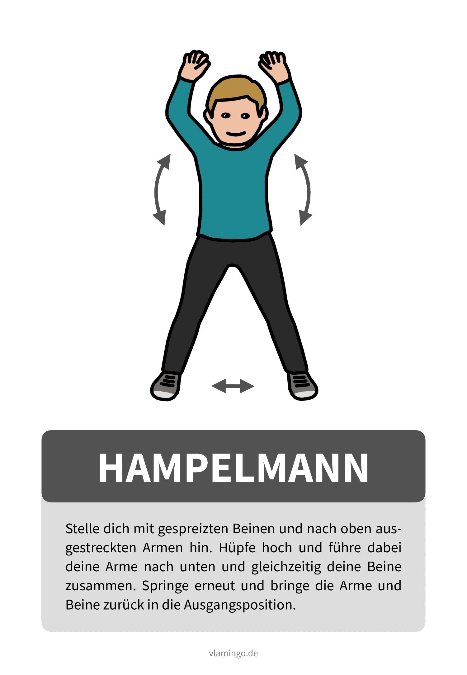 Übungskarte mit Beschreibung - Hampelmann