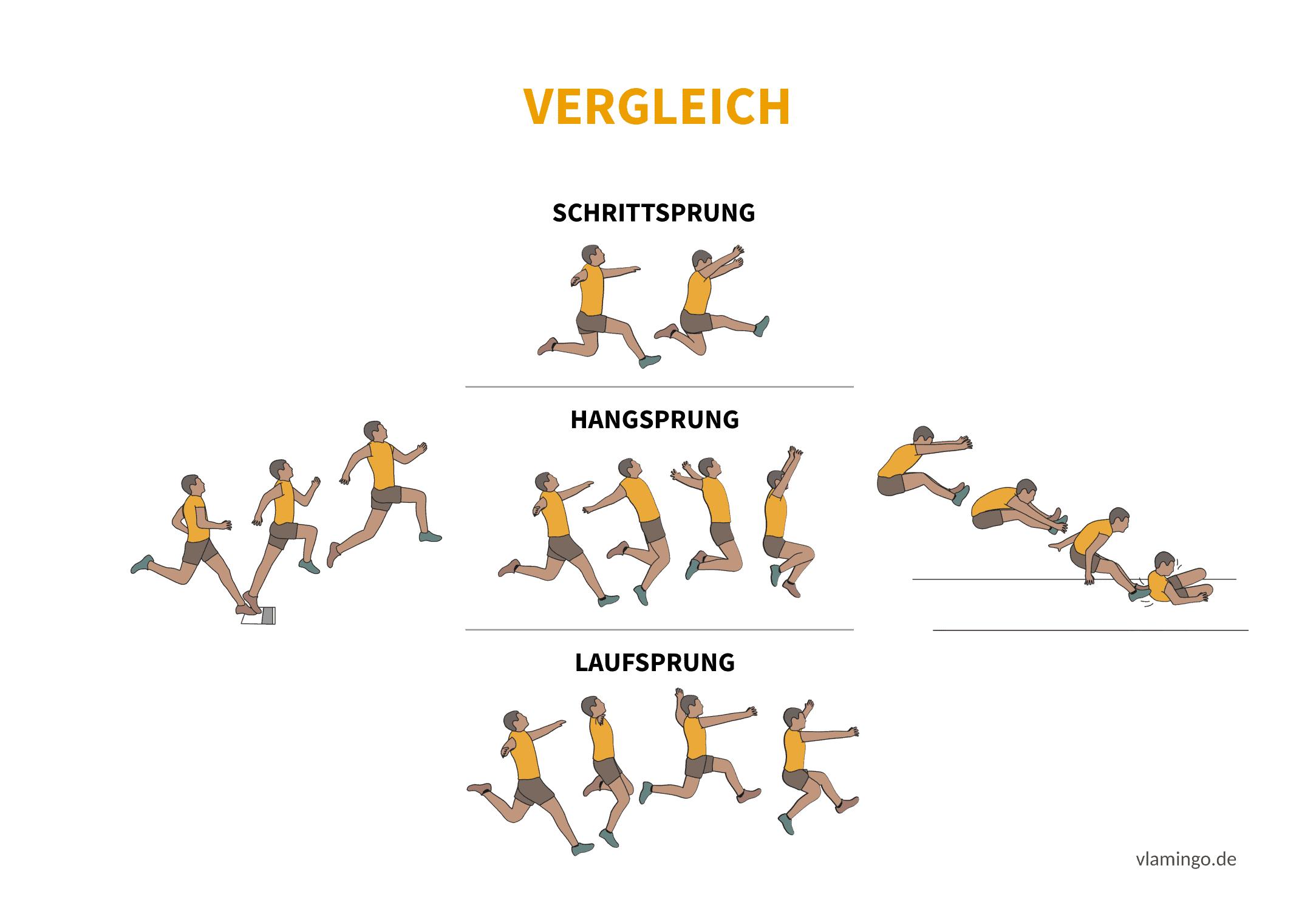 Schrittsprung, Hangsprung, Laufsprung Vergleich (Bewegungsanalyse) - Leichtathletik