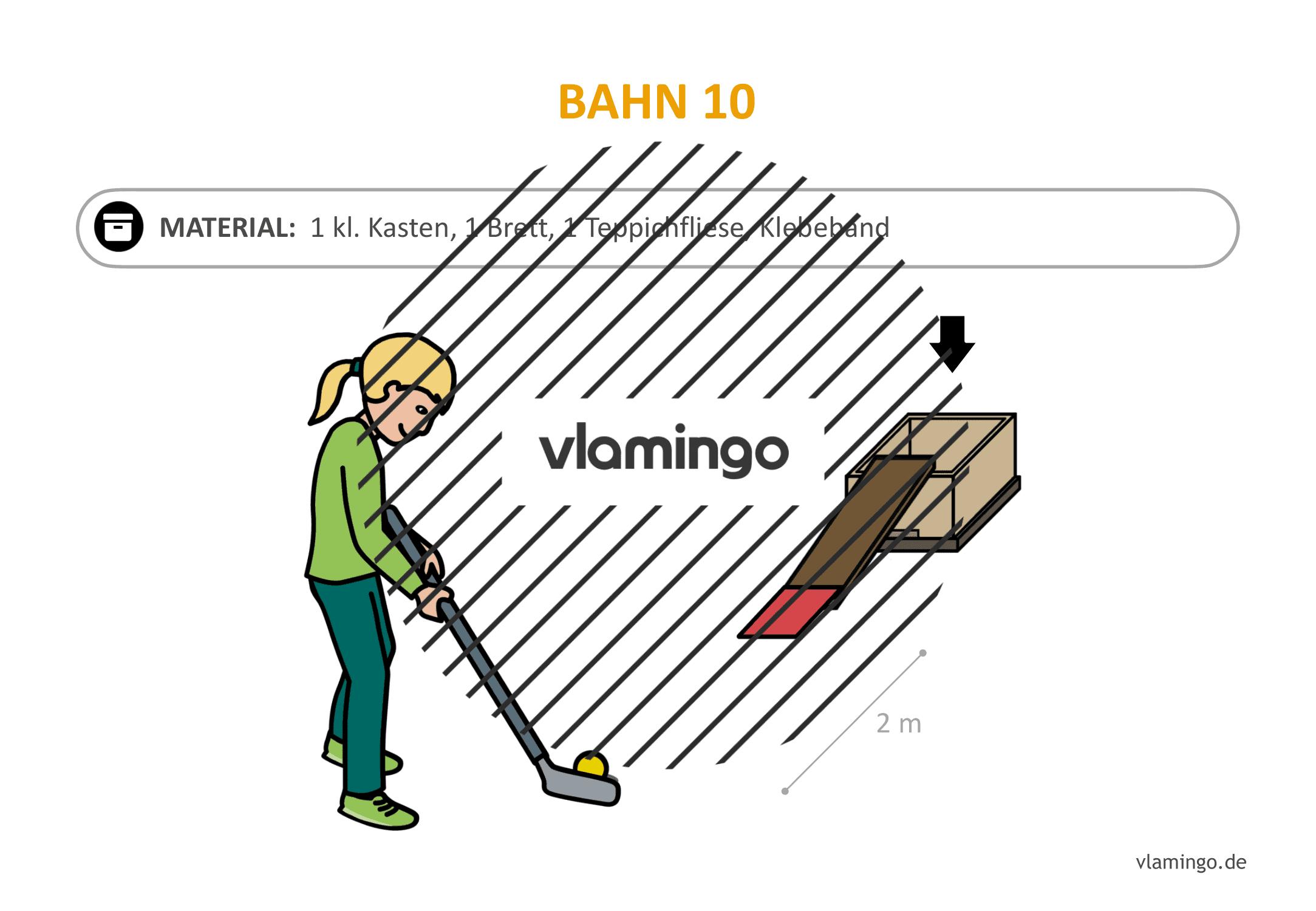 Minigolf-Station 10: Schmaler Aufstieg