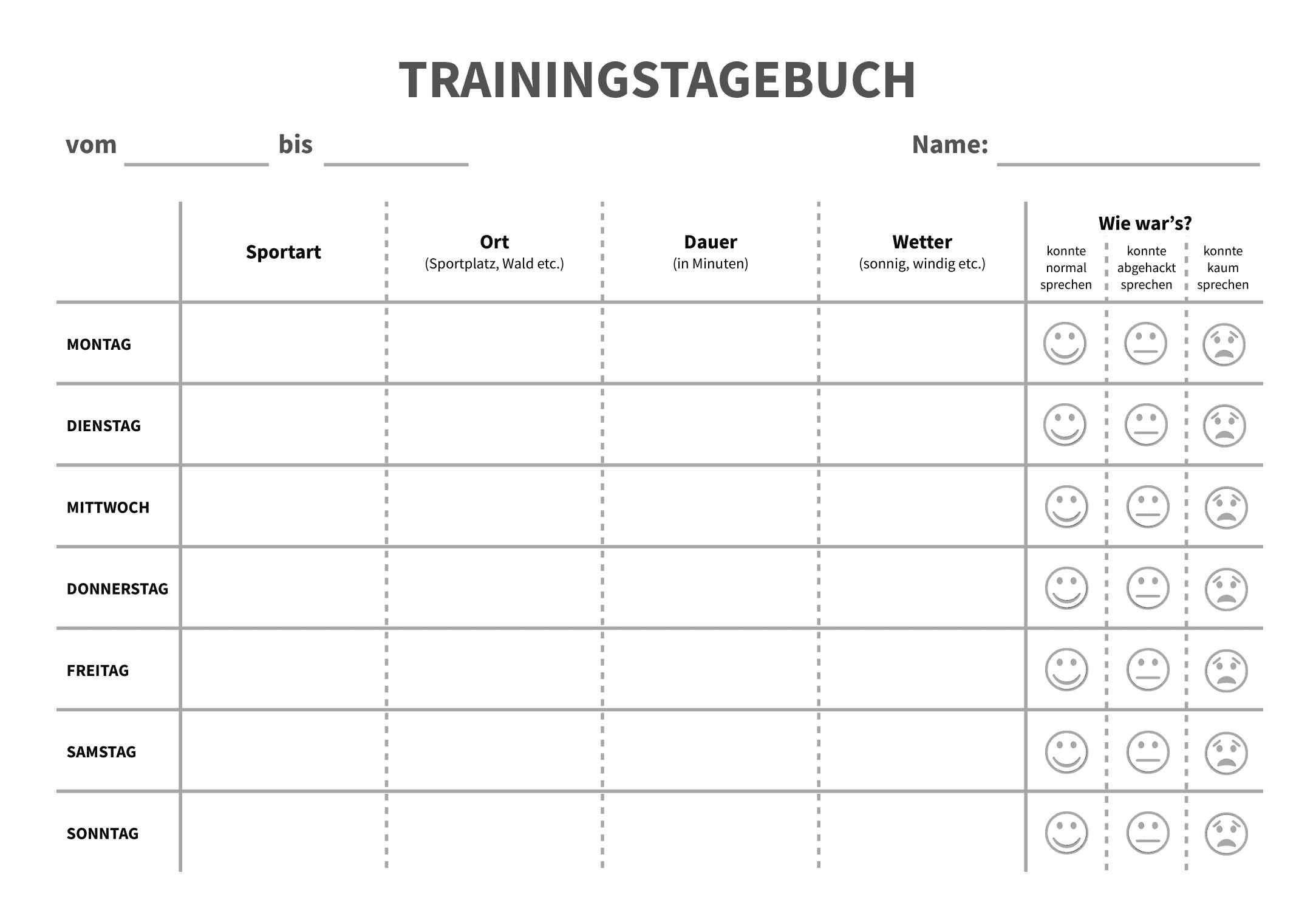 Trainingstagebuch - Vorlage für die Sekundarstufe