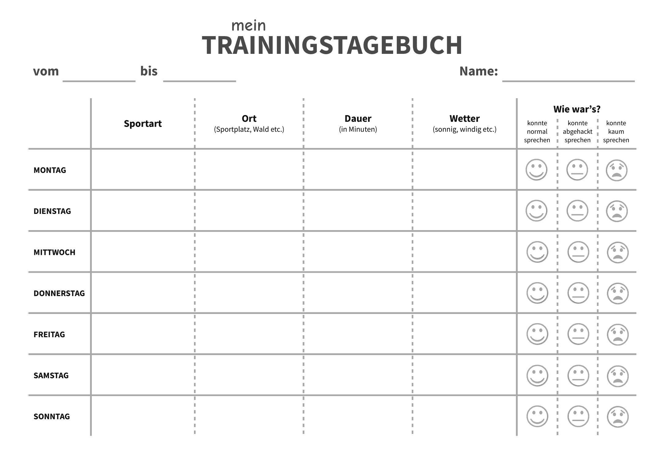 Vorlage - Trainingstagebuch für Kinder
