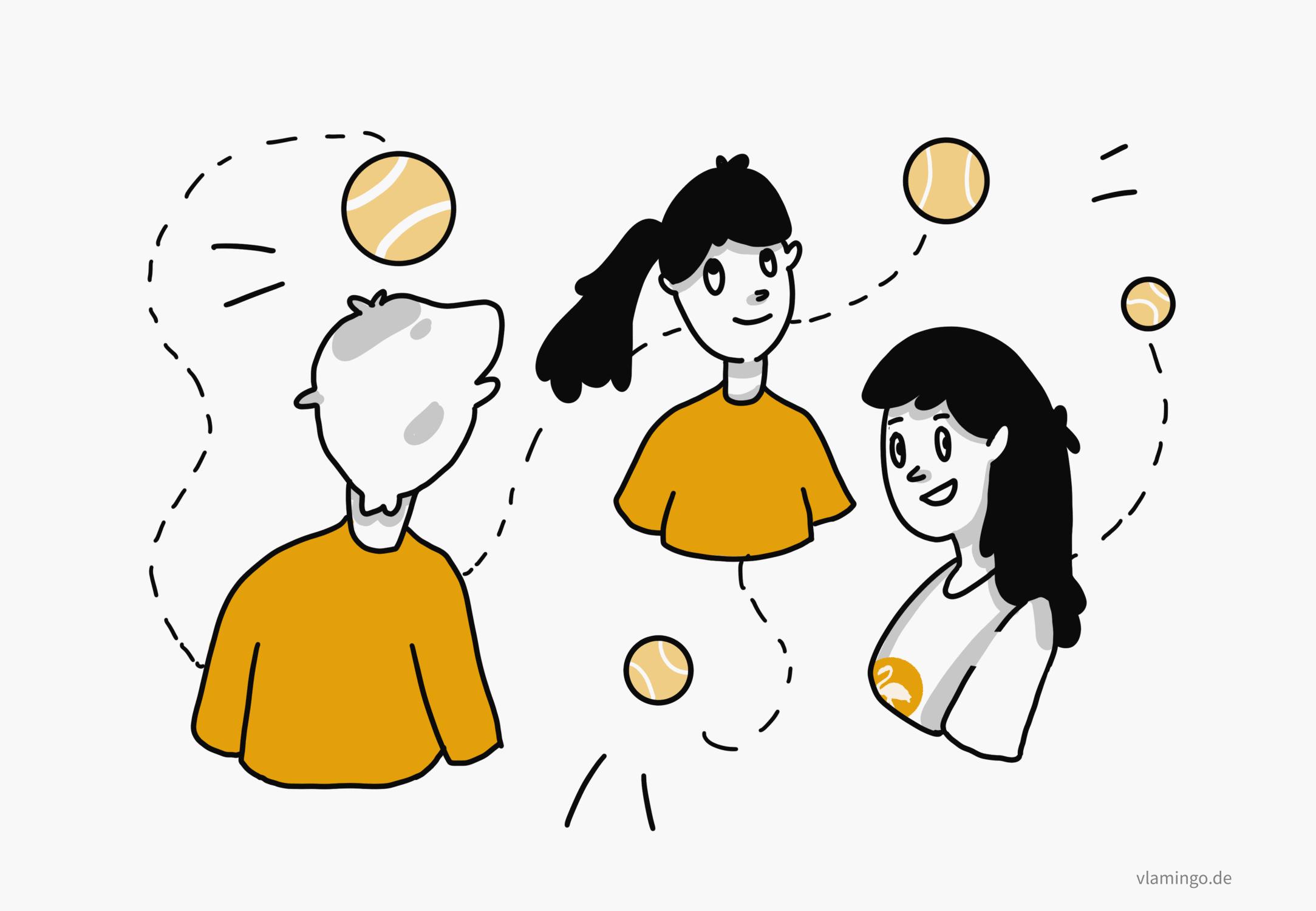 Gruppenübungen mit Tennisbällen