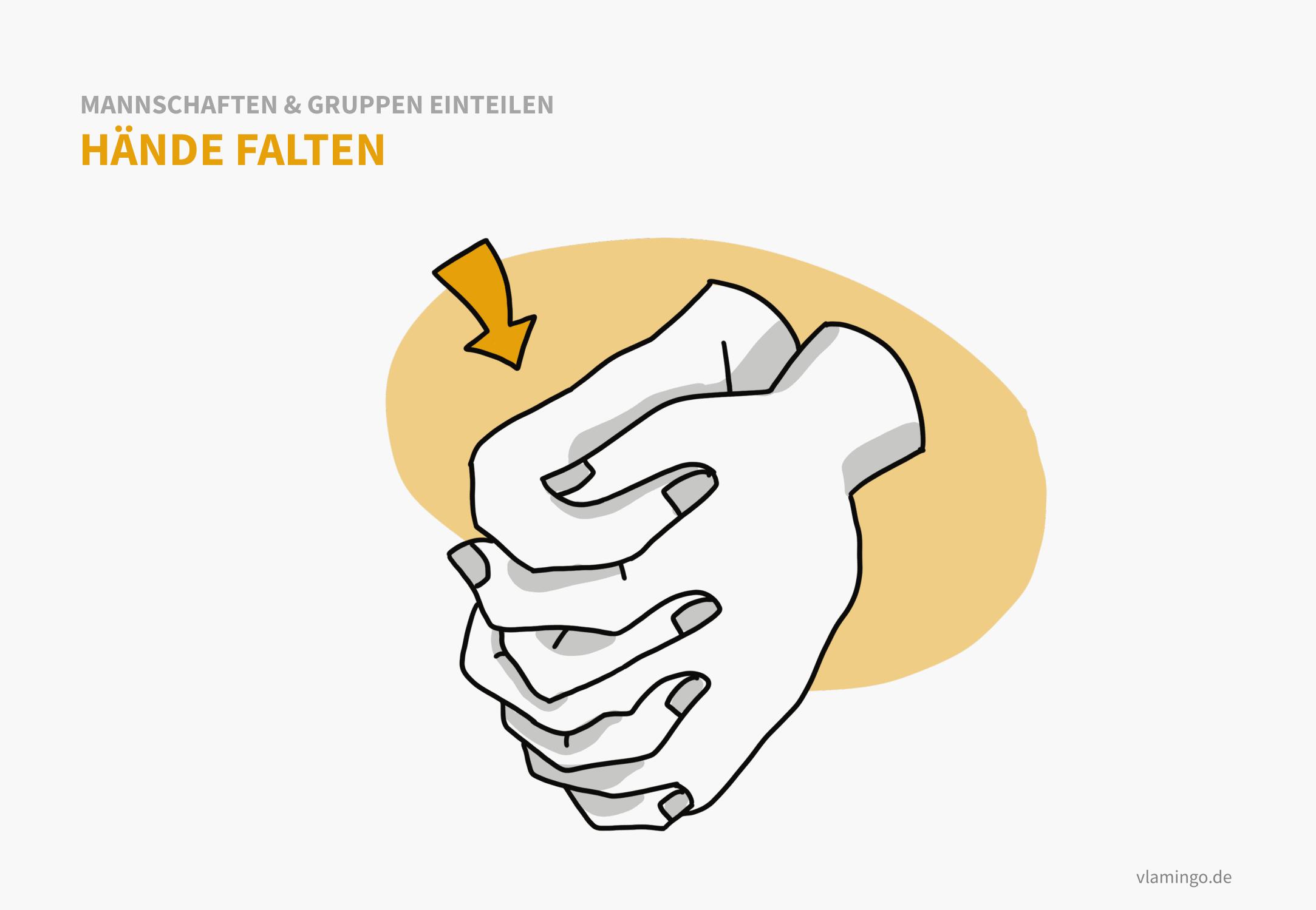 Hände falten - Methode zur Mannschaftseinteilung