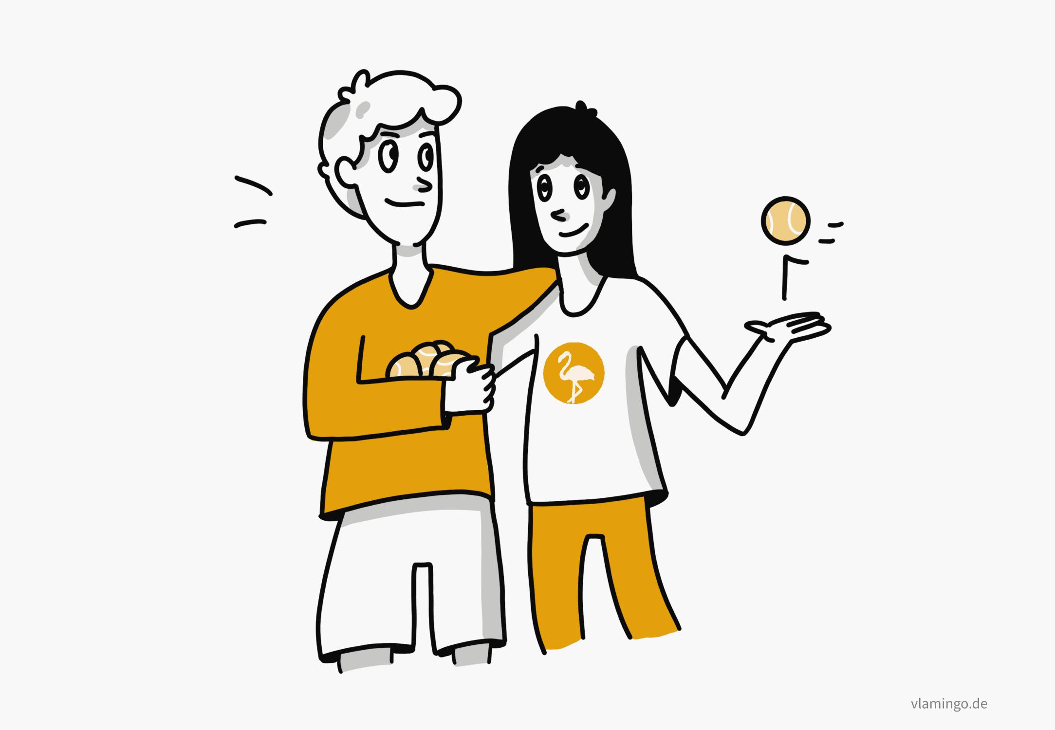 Partnerübungen mit Tennisbällen